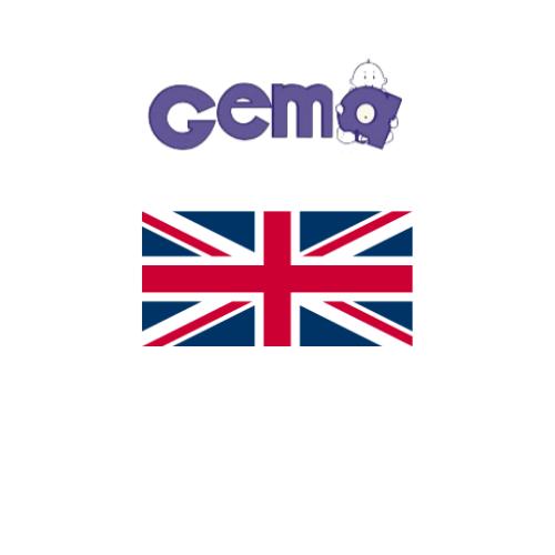 Gema Baby Logo with Union Jack flag